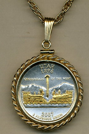 "Utah Two Tone Rope Bezel Statehood Quarter Pendant with 18"" Rope Necklace"