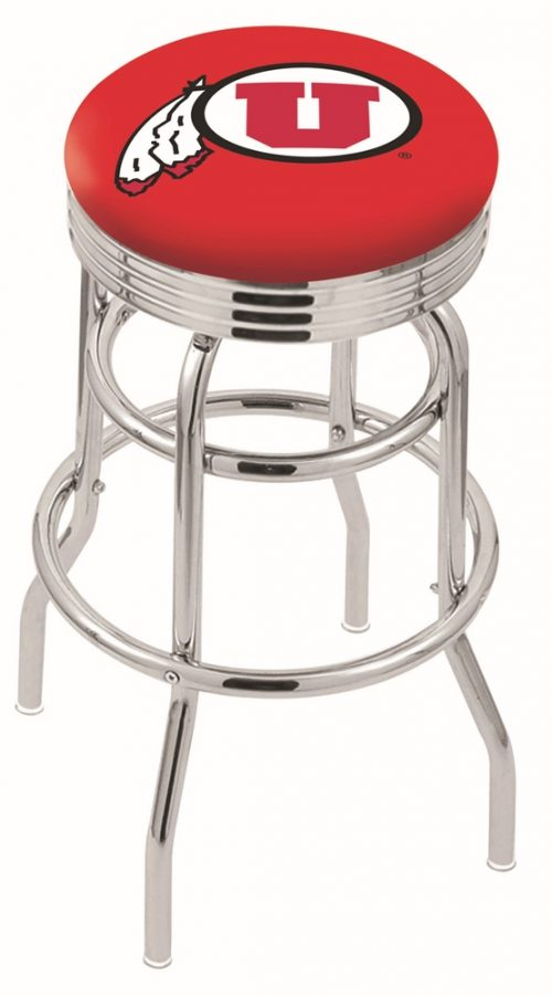 "Utah Utes (L7C3C) 25"" Tall Logo Bar Stool by Holland Bar Stool Company (with Double Ring Swivel Chrome Base)"