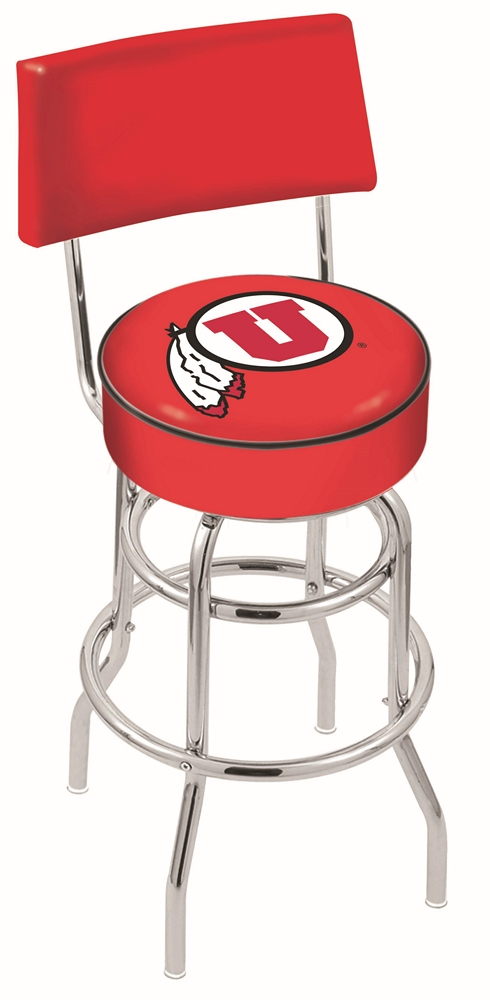 """Utah Utes (L7C4) 30"""" Tall Logo Bar Stool by Holland Bar Stool Company (with Double Ring Swivel Chrome Base and Chair Seat Back)"""