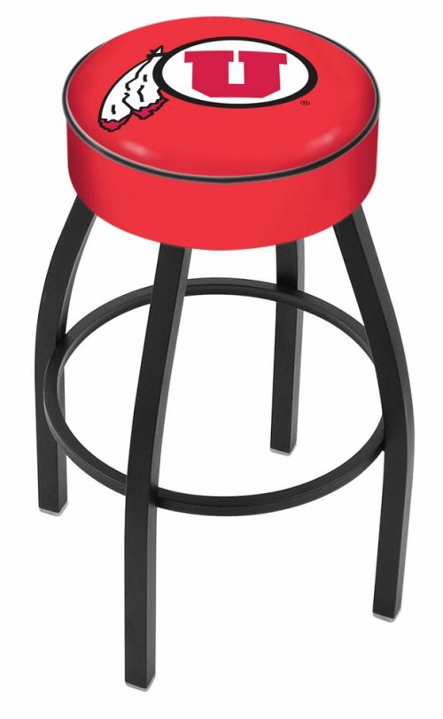 "Utah Utes (L8B1) 30"" Tall Logo Bar Stool by Holland Bar Stool Company (with Single Ring Swivel Black Solid Welded Base)"
