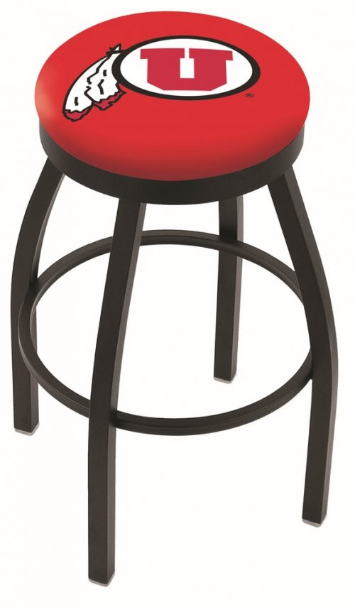 "Utah Utes (L8B2B) 25"" Tall Logo Bar Stool by Holland Bar Stool Company (with Single Ring Swivel Black Solid Welded Base)"
