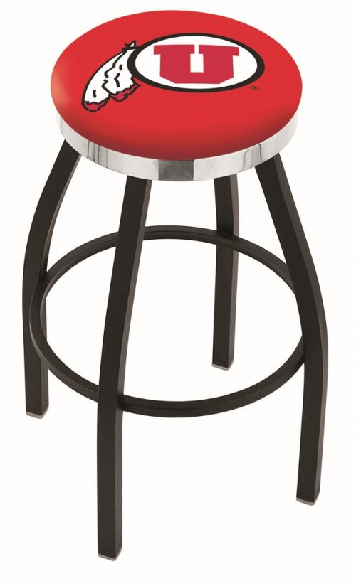 "Utah Utes (L8B2C) 25"" Tall Logo Bar Stool by Holland Bar Stool Company (with Single Ring Swivel Black Solid Welded Base)"