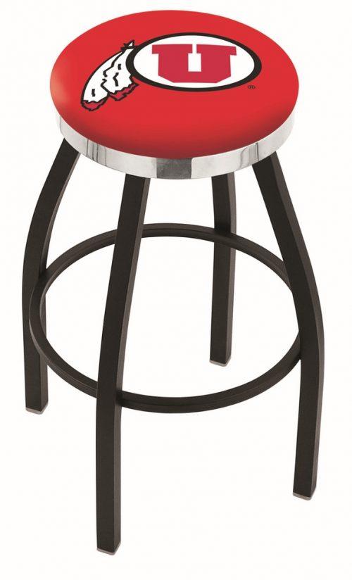 "Utah Utes (L8B2C) 30"" Tall Logo Bar Stool by Holland Bar Stool Company (with Single Ring Swivel Black Solid Welded Base)"