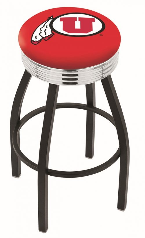 "Utah Utes (L8B3C) 30"" Tall Logo Bar Stool by Holland Bar Stool Company (with Single Ring Swivel Black Solid Welded Base)"