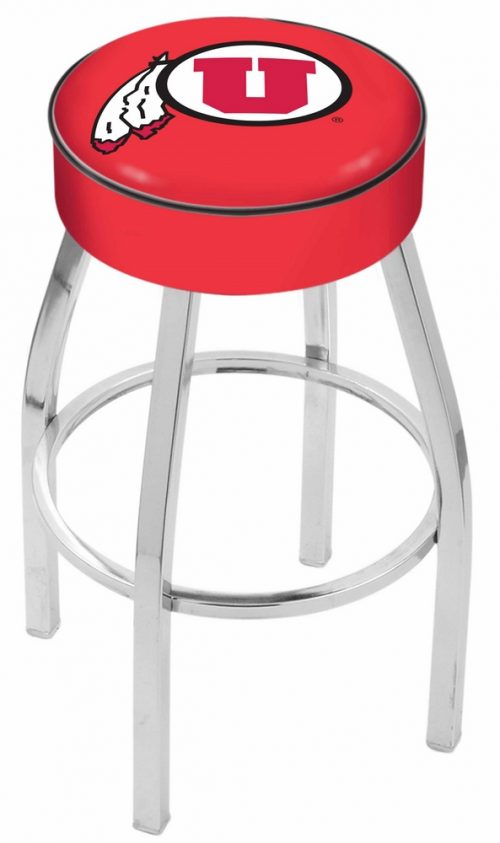 "Utah Utes (L8C1) 25"" Tall Logo Bar Stool by Holland Bar Stool Company (with Single Ring Swivel Chrome Solid Welded Base)"