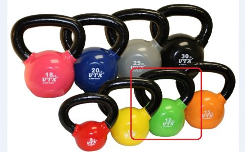 VTX by Troy Barbell VKB-012 Vinyl Kettlebell - Green - 12 Pounds - Sold as a single kettlebell