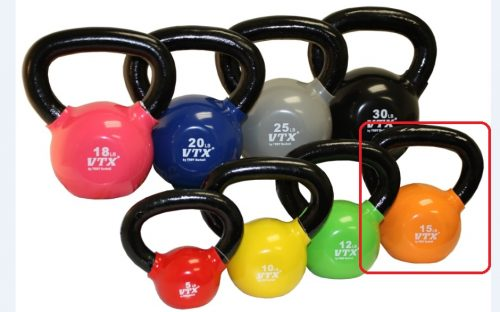 VTX by Troy Barbell VKB-015 Vinyl Kettlebell - Orange - 15 Pounds - Sold as a single kettlebell