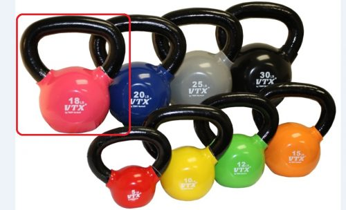 VTX by Troy Barbell VKB-018 Vinyl Kettlebell - Red - 18 Pounds - Sold as a single kettlebell