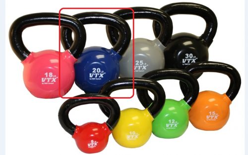 VTX by Troy Barbell VKB-020 Vinyl Kettlebell - Blue - 20 Pounds - Sold as a single kettlebell