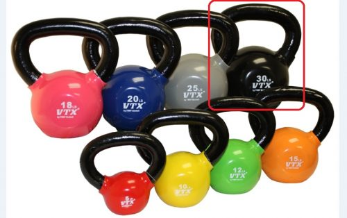 VTX by Troy Barbell VKB-030 Vinyl Kettlebell - Black - 30 Pounds - Sold as a single kettlebell