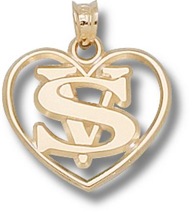 "Valdosta State Blazers ""VS with Heart"" Pendant - 10KT Gold Jewelry"