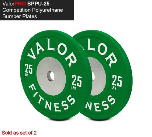 Valor Fitness BPPU-25 Polyurethane Bumper Plate 25 lbs - Green & White