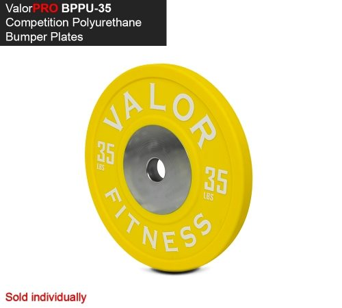 Valor Fitness BPPU-35 Polyurethane Bumper Plate 35 lbs - Yellow & White
