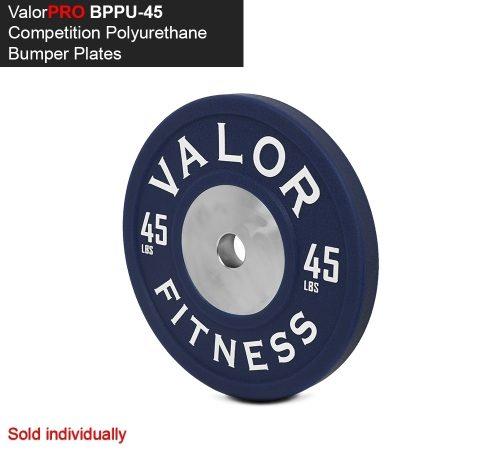 Valor Fitness BPPU-45 Bumper Plate Polyurethane 45 lbs - Blue & White