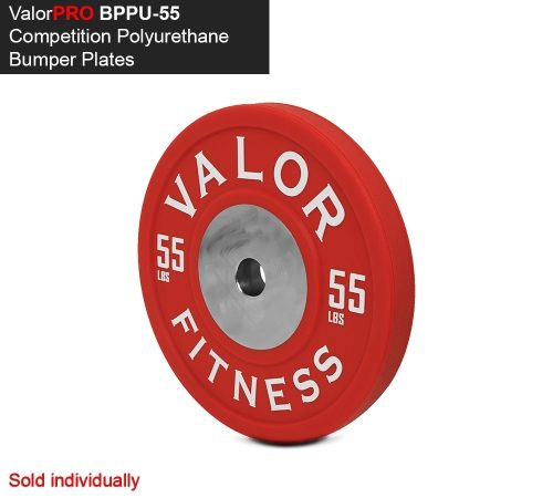 Valor Fitness BPPU-55 Bumper Plate Polyurethane 55 lbs - Red & White