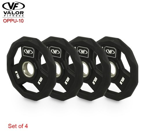 Valor Fitness OPPU-10 Polyurethane Olympic Plate 10 lbs - Set of 4