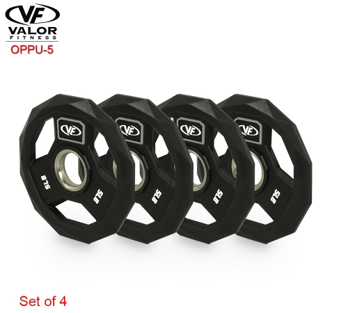Valor Fitness OPPU-5 Polyurethane Olympic Plate 5 lbs - Set of 4