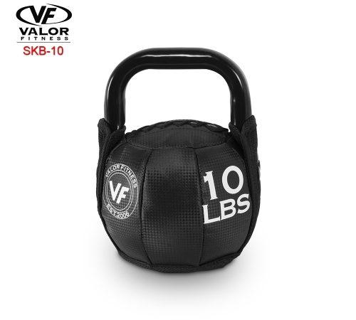 Valor Fitness SKB-10 Soft Kettlebell 10 lbs - Black & PVC Leather