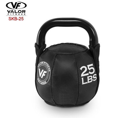 Valor Fitness SKB-25 Soft Kettlebell 25 lbs - Black & PVC Leather