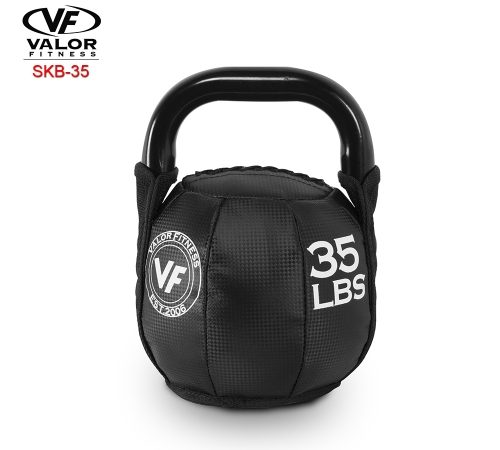 Valor Fitness SKB-35 Soft Kettlebell 35 lbs - Black & PVC Leather
