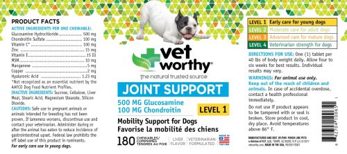 Vet Worthy 0065-1 Joint Support Level 1 Chewable 180 Count - Pack of 2