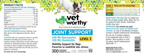 Vet Worthy 0066-8 Joint Support Level 1 Chewable 300 Count - Pack of 2