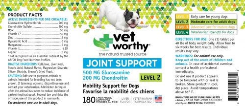 Vet Worthy 0068-2 Joint Support Level 2 Chewable 180 Count - Pack of 2