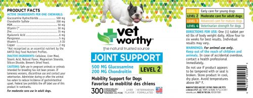 Vet Worthy 0069-9 Joint Support Level 2 Chewable 300 Count