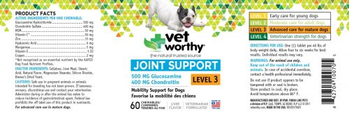 Vet Worthy 0070-5 Joint Support Level 3 Chewable 60 Count - Pack of 3
