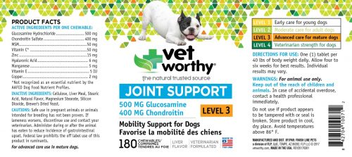Vet Worthy 0071-2 Joint Support Level 3 Chewable 180 Count