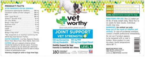 Vet Worthy 0089-7 Joint Support Level 4 Chewable 180 Count - Pack of 2