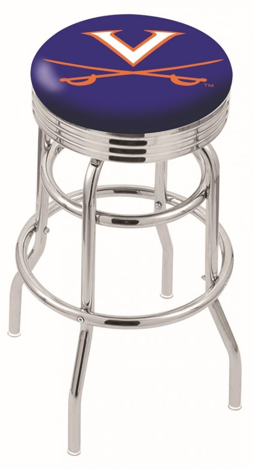 "Virginia Cavaliers (L7C3C) 30"" Tall Logo Bar Stool by Holland Bar Stool Company (with Double Ring Swivel Chrome Base)"