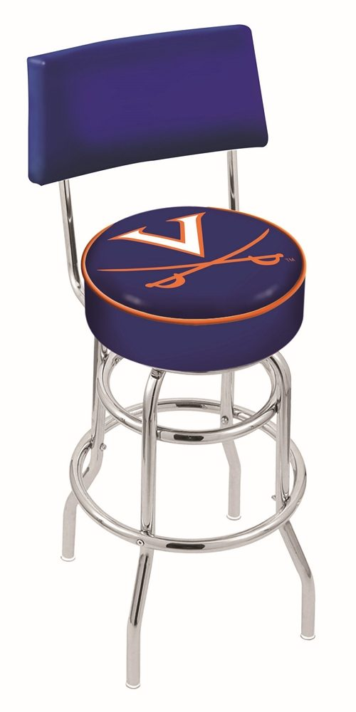 "Virginia Cavaliers (L7C4) 25"" Tall Logo Bar Stool by Holland Bar Stool Company (with Double Ring Swivel Chrome Base and Chair Seat Back)"