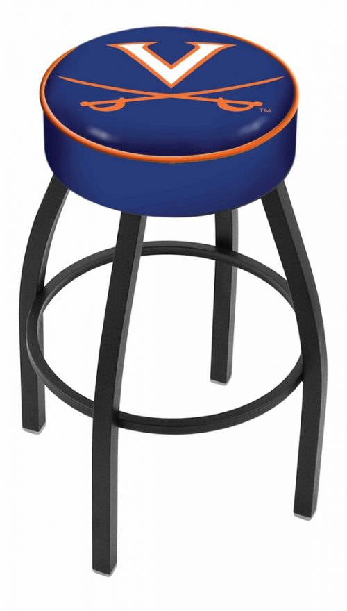 "Virginia Cavaliers (L8B1) 25"" Tall Logo Bar Stool by Holland Bar Stool Company (with Single Ring Swivel Black Solid Welded Base)"