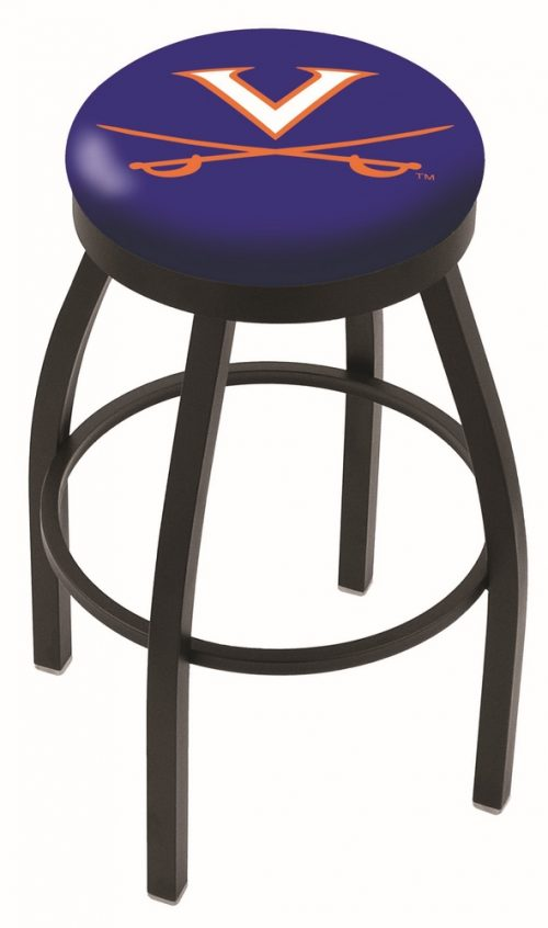 "Virginia Cavaliers (L8B2B) 25"" Tall Logo Bar Stool by Holland Bar Stool Company (with Single Ring Swivel Black Solid Welded Base)"