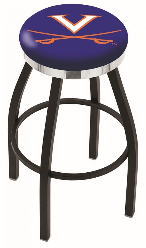 "Virginia Cavaliers (L8B2C) 25"" Tall Logo Bar Stool by Holland Bar Stool Company (with Single Ring Swivel Black Solid Welded Base)"