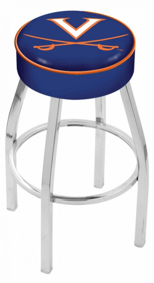 "Virginia Cavaliers (L8C1) 25"" Tall Logo Bar Stool by Holland Bar Stool Company (with Single Ring Swivel Chrome Solid Welded Base)"