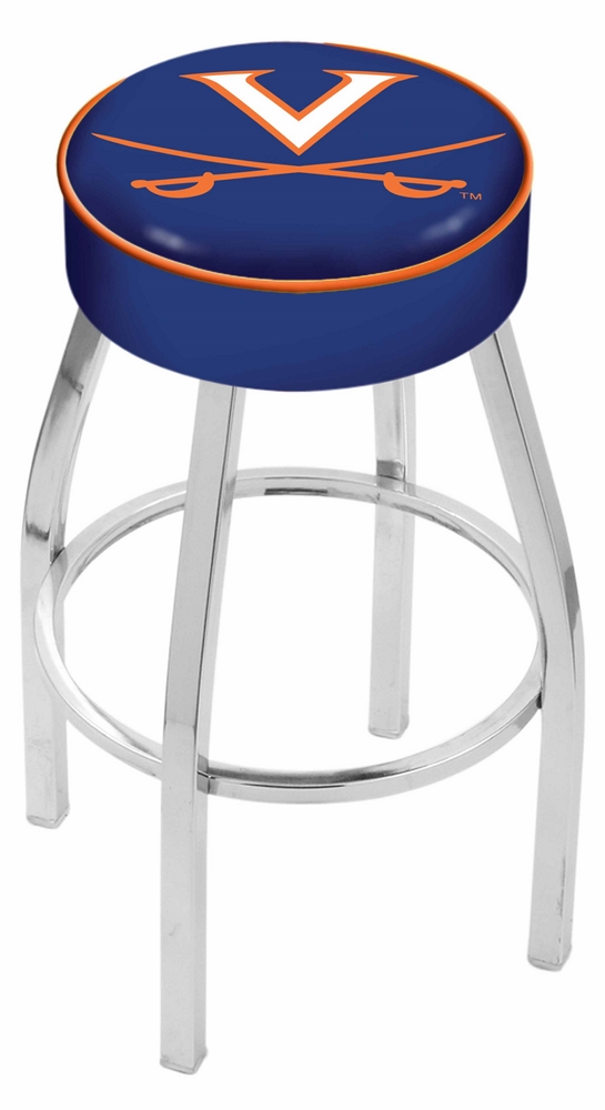 """Virginia Cavaliers (L8C1) 25"""" Tall Logo Bar Stool by Holland Bar Stool Company (with Single Ring Swivel Chrome Solid Welded Base)"""