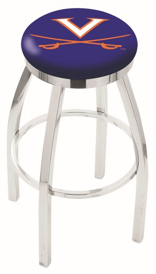 "Virginia Cavaliers (L8C2C) 25"" Tall Logo Bar Stool by Holland Bar Stool Company (with Single Ring Swivel Chrome Solid Welded Base)"