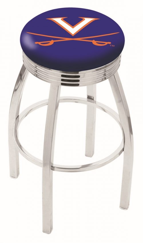 """Virginia Cavaliers (L8C3C) 30"""" Tall Logo Bar Stool by Holland Bar Stool Company (with Single Ring Swivel Chrome Solid Welded Base)"""