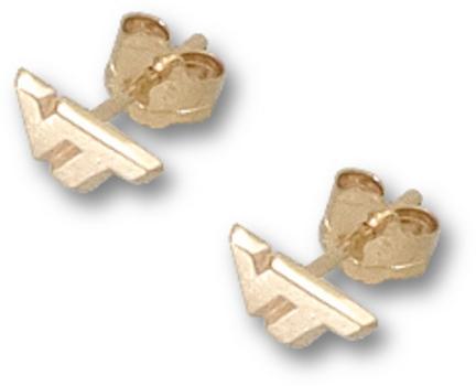 "Virginia Tech Hokies 1/4"" ""VT"" Post Earrings - 10KT Gold Jewelry"
