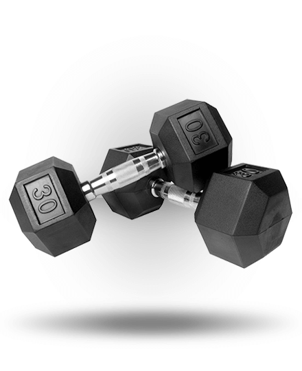Vulcan VHEXDB30-WS 30 lbs Rubber Hex Dumbbell Pair