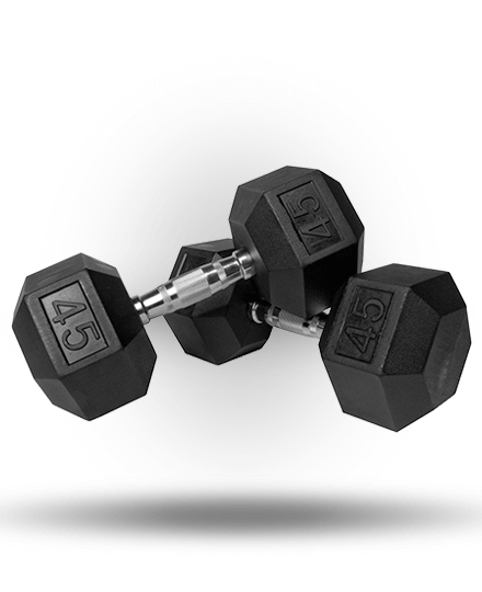 Vulcan VHEXDB45-WS 45 lbs Rubber Hex Dumbbell Pair