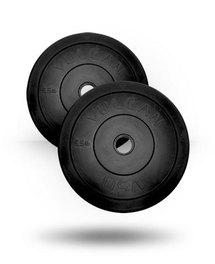 Vulcan VULCRUB55-WS 55 lbs Bumper Plates Pair - Black