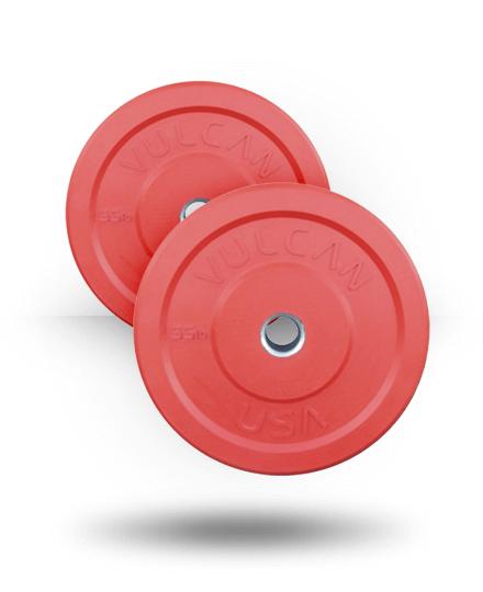 Vulcan VULCRUBCOLE55-WS 55 lbs Bumper Plates Pair - Red