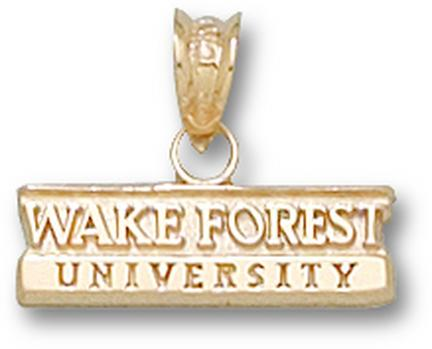 "Wake Forest Demon Deacons Bar ""Wake Forest University"" Pendant - 10KT Gold Jewelry"