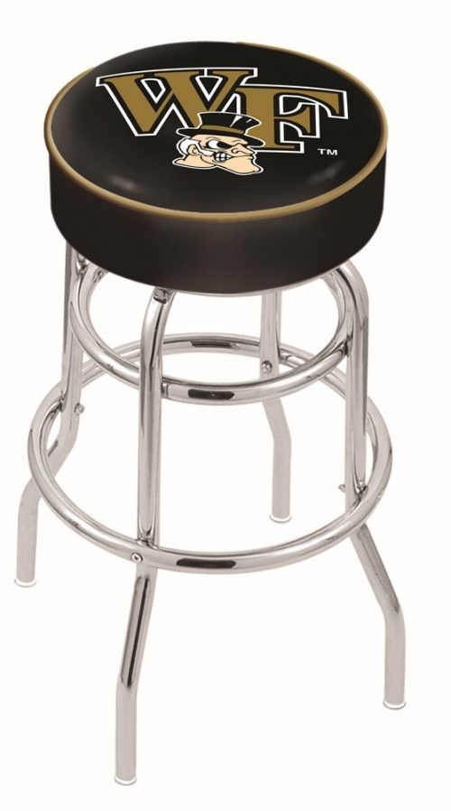 "Wake Forest Demon Deacons (L7C1) 25"" Tall Logo Bar Stool by Holland Bar Stool Company (with Double Ring Swivel Chrome Base)"