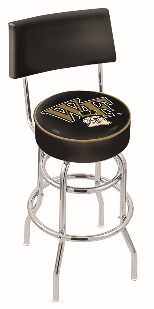 """Wake Forest Demon Deacons (L7C4) 25"""" Tall Logo Bar Stool by Holland Bar Stool Company (with Double Ring Swivel Chrome Base and Chair Seat Back)"""