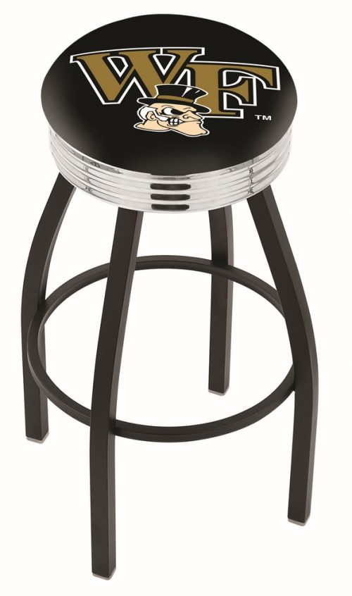 "Wake Forest Demon Deacons (L8B3C) 25"" Tall Logo Bar Stool by Holland Bar Stool Company (with Single Ring Swivel Black Solid Welded Base)"