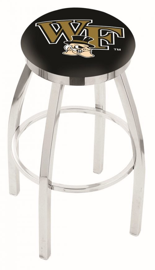 "Wake Forest Demon Deacons (L8C2C) 25"" Tall Logo Bar Stool by Holland Bar Stool Company (with Single Ring Swivel Chrome Solid Welded Base)"